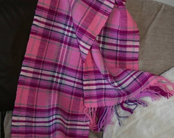 Handwoven Pink and Purple  and White Tartan \ Plaid Scarf, Shawl or Stole
