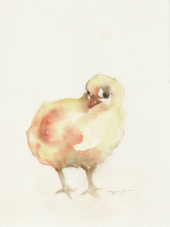 Chicken, original watercolor, original watercolor painting art, animal art.