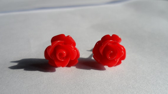 Red Rose Earring Studs