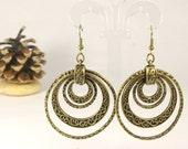 Multi Hoop Earrings -Hammered Antique Brass