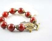 Fire Agate Bracelet -Handcrafted Gemstone Jewelry -Toggle Clasp -Spring Fashion -Burnt Orange