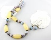 Yellow Jade Necklace -Gemstone Jewelry Set -Chunky Pastel Yellow Blue
