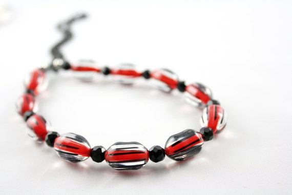 Red Necklace -Red Black Necklace Earring Set (Collier noir et rouge)