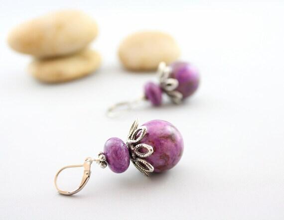 Purple Gemstone Earrings -Gemstone Jewelry -Lepidolite Dangle Earrings -Wild Woman