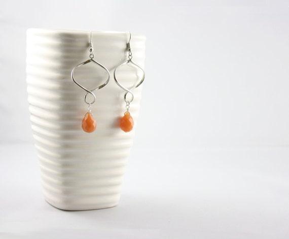 Orange Earrings -Tangerine Orange -Infinity Earrings -Aventurine Earrings
