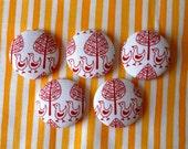 Traditional scandinavian print  covered buttons x 5 red bird