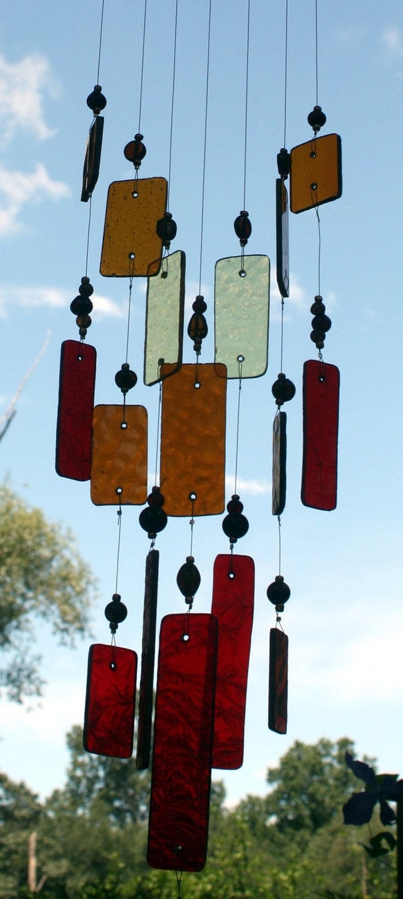 Red and Amber Stained Glass Dragonfly  Wind Chime Outdoor Decor