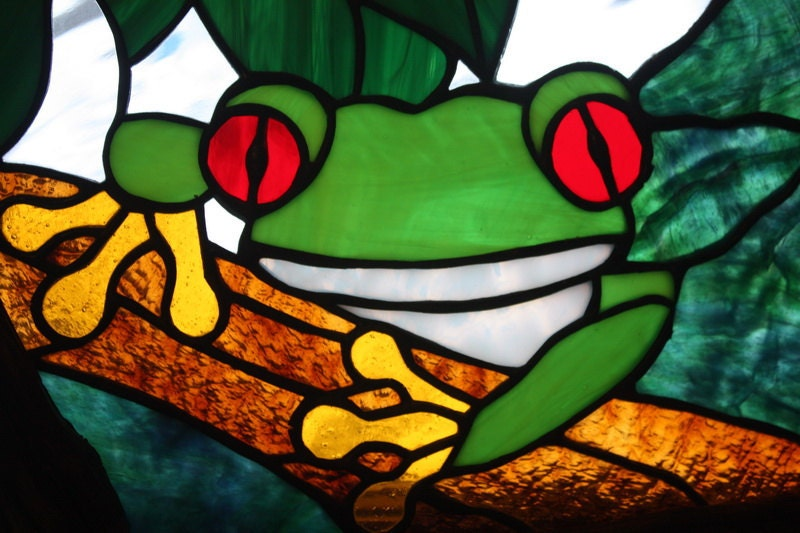 Tree Frog Stained Glass Panel Window Rustic Branch Wood Frame
