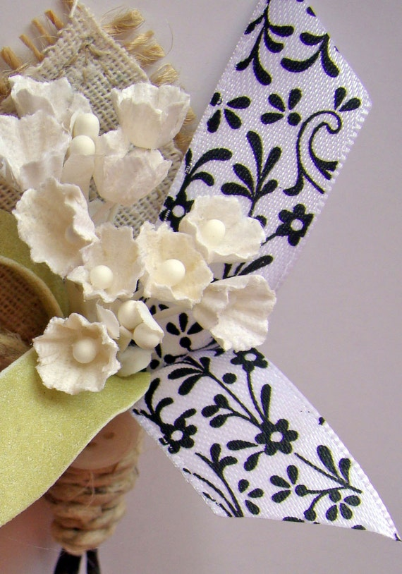 Rustic White Boutonniere Black Forget Me Not