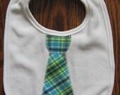 Blue and Green Plaid Tie Bib