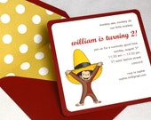 Curious George Birthday Party Invitation - Square Envelope and Invitation, Envelope Liner, Multi-Layered Invitation