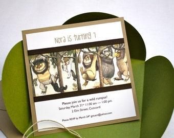 Where the Wild Things Are Birthday Invitation - Petal Enclosure, Twine, Grosgrain Ribbon, Multi-Layered Invitation