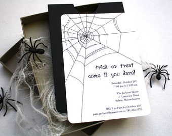 Spooky Spider Halloween Party Invitation - Box Mailer, Black Spiders, Spider Web, Multi-Layered Invitation