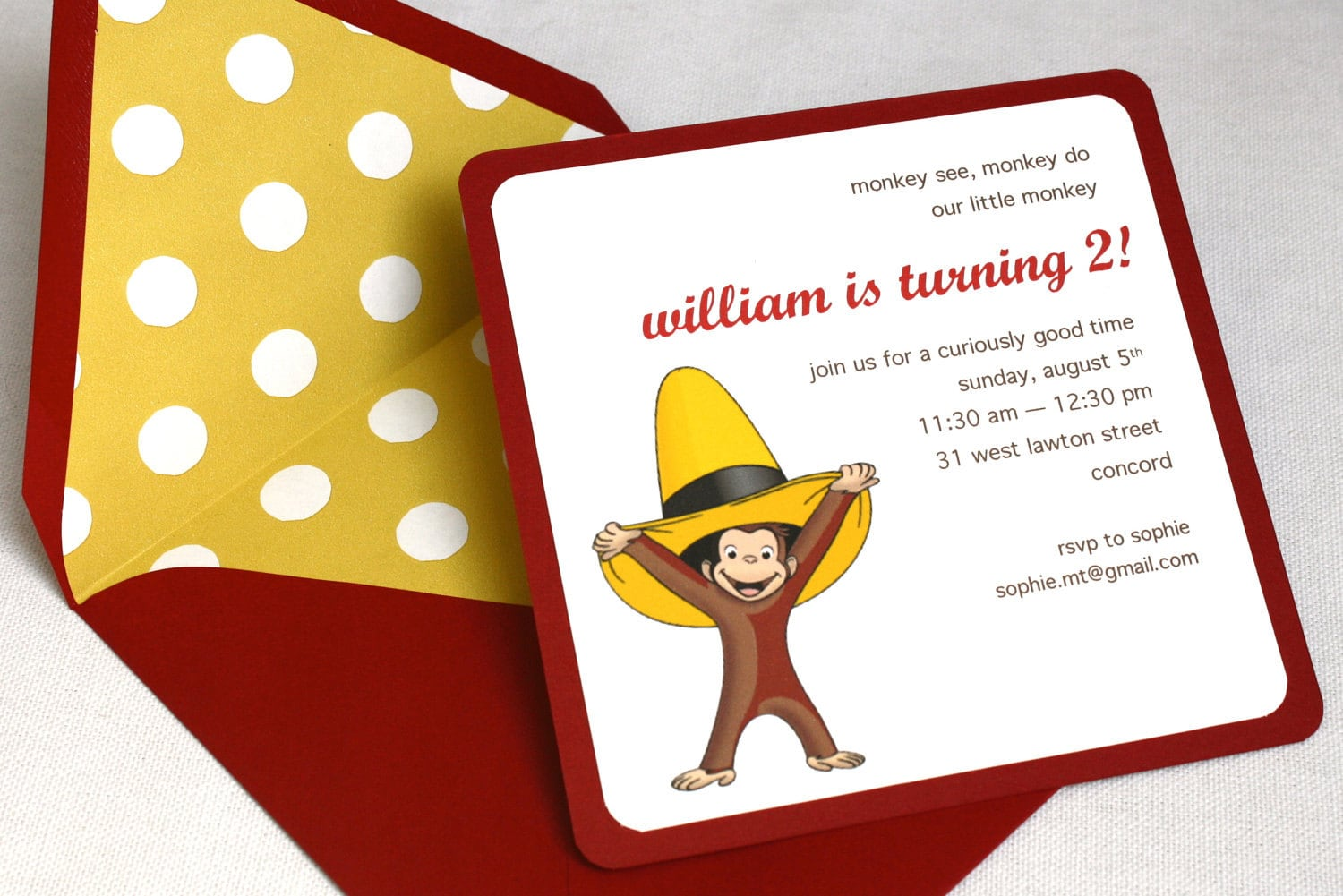 curious george birthday party invitation square envelope and, Party invitations