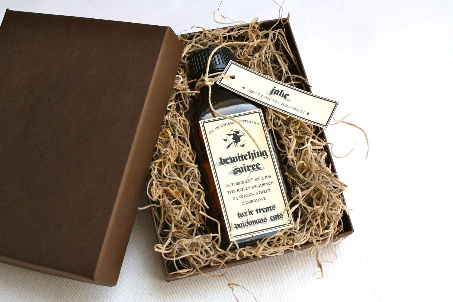 Amber Apothecary Halloween Party Invitation Glass Bottle