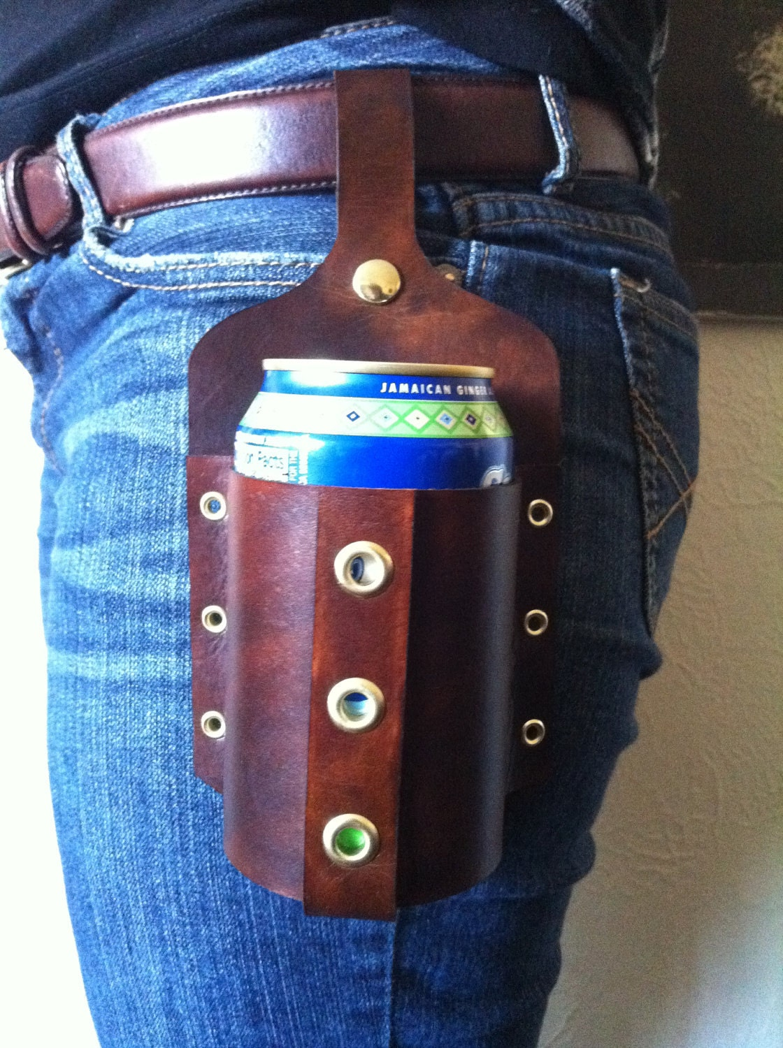 Leather Beer Holster Handmade Leather Beer Holster