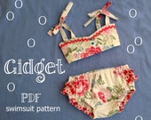 Gidget - Baby Bikini Sewing Pattern. Retro Swimsuit Pattern. Kids Baby Sewing Pattern. Sizes 6m-24m