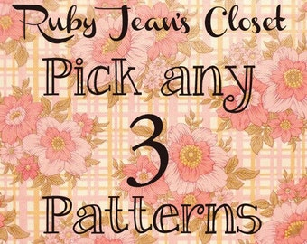 SALE Pick any 3 patterns from Ruby Jean's Closet and SAVE on Dress PDF Patterns