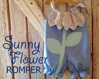 Sunny Flower - Pillowcase Romper Pattern. Girl Baby Toddler PDF Sewing Pattern. Easy Sew Sizes 1/2, 1, 2, 3, 4, 5, 6 included