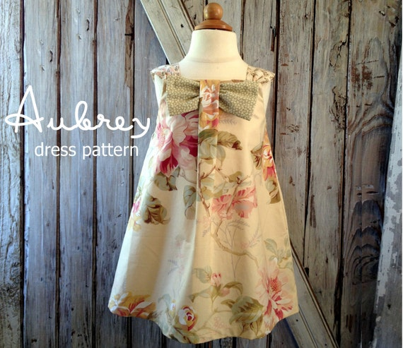 Aubrey - Bow Dress Sewing Pattern. Girl's Dress Pattern. Toddler Pattern. Sizes 12m-8 included