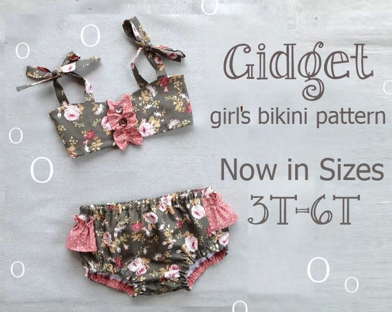 Gidget - Girl's Bikini Sewing Pattern. Retro Swimsuit Pattern. Children's Clothing Sewing Pattern. Kids Swimwear Sizes 3,4,5,6