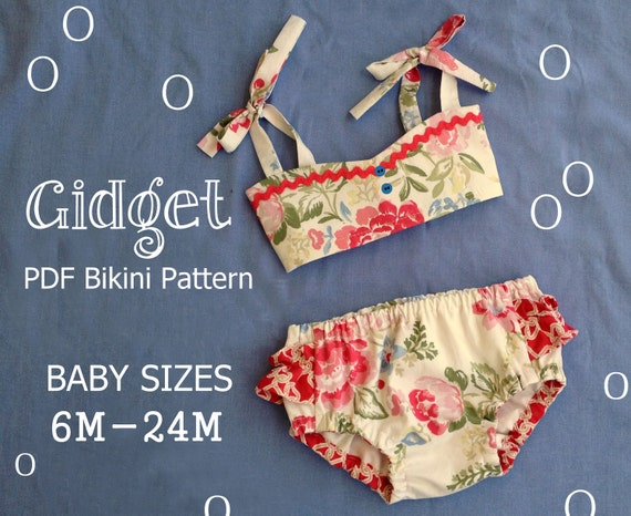 Gidget - Baby Bikini Sewing Pattern. Retro Swimsuit Pattern. Girl Sewing Pattern. Baby Sewing Pattern. Sizes 6m-24m