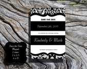 25 4X6 POSTCARDS Save the date Elegant black and white Damask