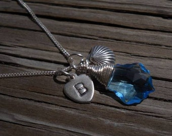 Sterling silver wire wrapped Swarovski aqua baroque crystal pendant, with a personalized hand stamped tiny heart and a sea shell