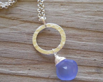Chalcedony blue heart faceted briolette necklace,  wire wrapped in sterling silver...