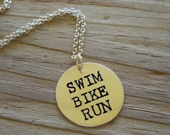 Triathlon necklace in sterling silver, hand stamped....For the athlete in YOU.