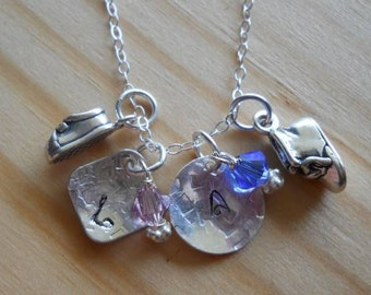 Twins necklace.... Sterling silver hand stamped with baby's initials....swarovski birhtstone and 2 baby booties..
