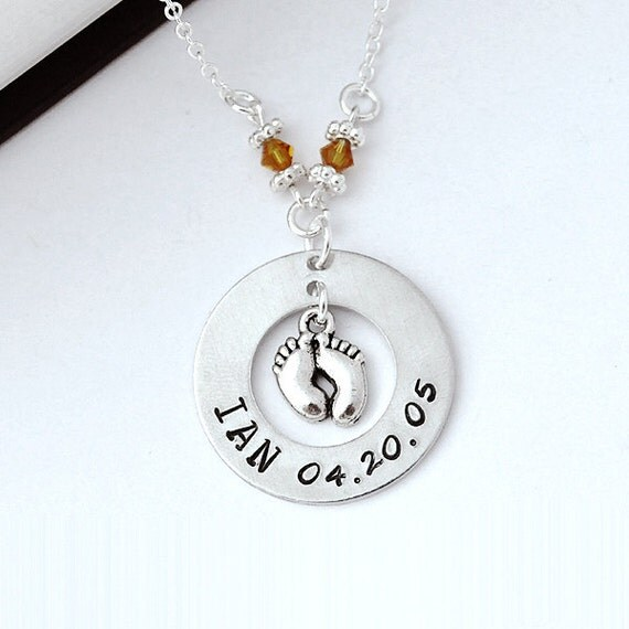 Mommy Necklace Hand Stamped Baby Birth Necklace Mom By