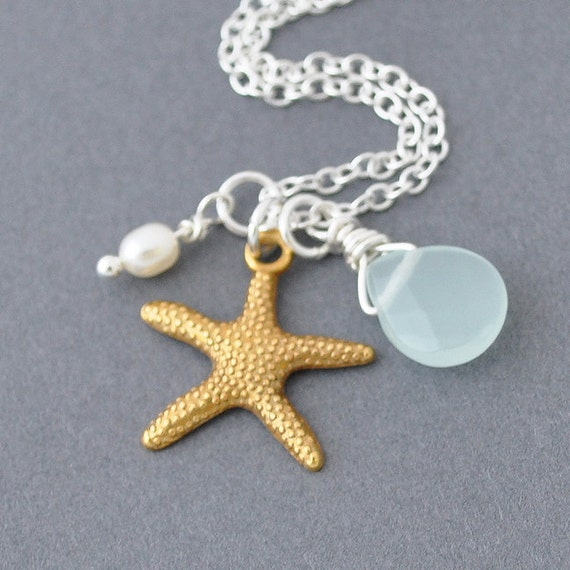 starfish necklace gold starfish charm with pearl