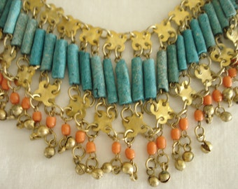 Vintage Estate Necklace Turquoise/Coral/Gold Boho Style