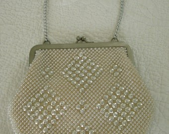Vintage 1950's Beaded Pale Pink Evening Bag/Purse