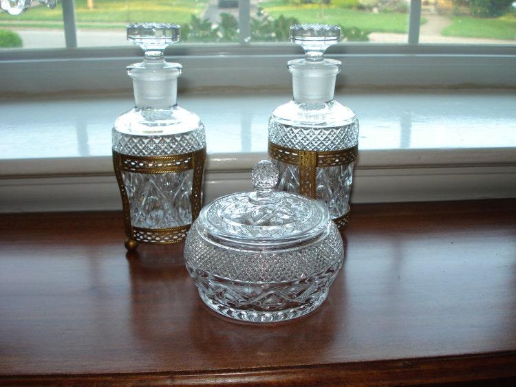 Vintage Glass Vanity Set Perfume Bottles By