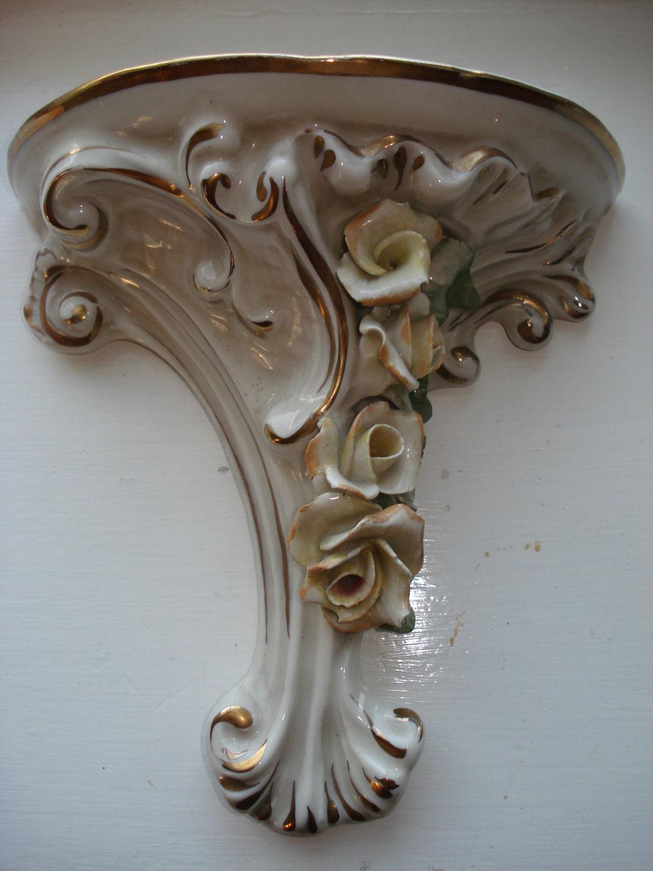Antique Ceramic Wall Sconces : Vintage Porcelain Wall Shelf Sconce 1940 s Roses