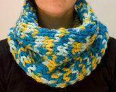 Knit cowl chunky blue and yellow wool blend