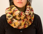 Knit cowl chunky brown, red and yellow wool blend