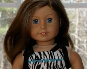 "American Girl Doll Dress, Zebra Print Dress, FREE SHIPPING, 18"" Doll Clothes, 18"" Doll Dress, 18"" Doll Outfit, Doll Dress"