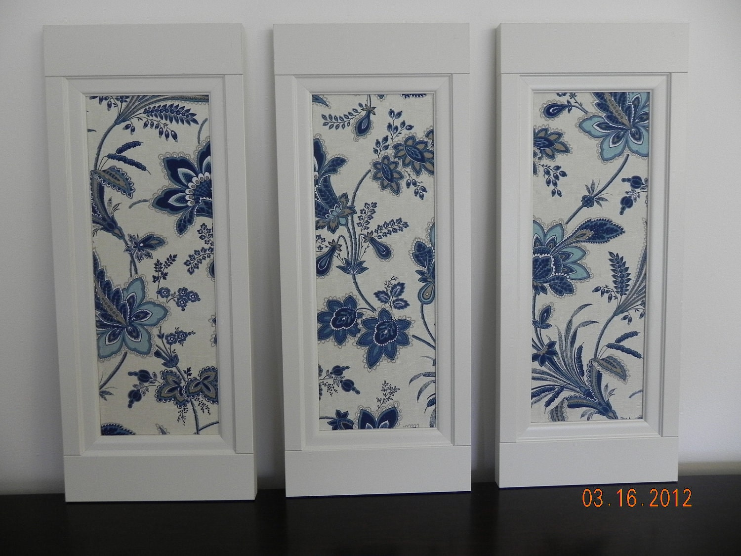 Handmade wall decor wooden frame fabric canvas wall by for Fabric picture frames