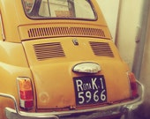 Car Photograph Rome Roma Italy Yellow Vintage Car