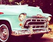 Car Photography, Vintage Chevy Pickup Truck Turquoise 8x10 Photograph