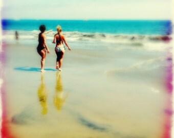 Beach Photograph, California, People, Colorful, Whimsical, Beach Bums, Beach, Ocean, aqua, sand