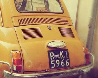 Car Photograph Rome Roma Italy Yellow Vintage Car