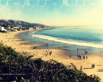 Beach Photography, Laguna Beach California Photograph. Ocean Beach Vintage style 5x7 Print