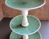 three tier handmade ceramic cupcake stand