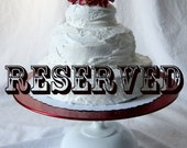 handmade red and white wedding cake stand - RESERVED for Beth