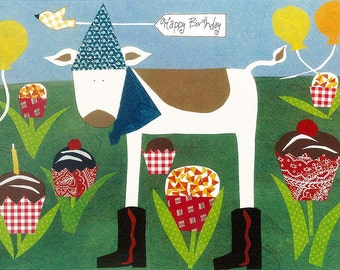 Child Birthday Card.  Happy Birthday Card Cupcake Cow  Greeting Card Primitive Folk Collage Art