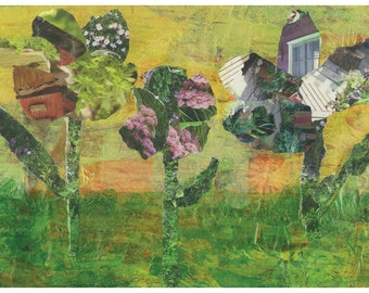 Spring Card, Wildflowers Notecard, Greeting Card, Yellow and Green, Collage card, blank